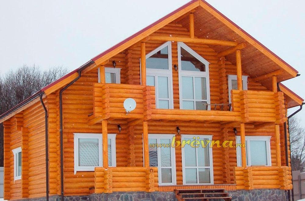 Дом баня с балконом из бревна baniprodaja.ru 2017.